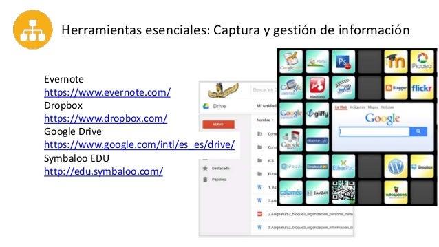 Herramientas esenciales: Captura y gestión de información Evernote https://www.evernote.com/ Dropbox https://www.dropbox.c...