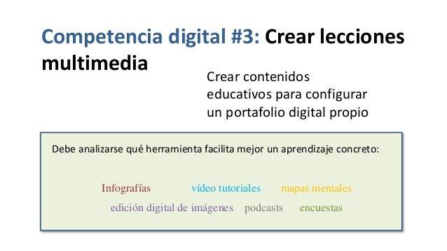 Competencia digital #3: Crear lecciones multimedia Crear contenidos educativos para configurar un portafolio digital propi...