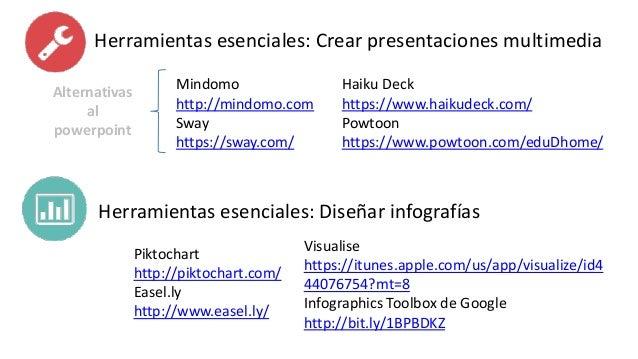 Herramientas esenciales: Crear presentaciones multimedia Alternativas al powerpoint Mindomo http://mindomo.com Sway https:...