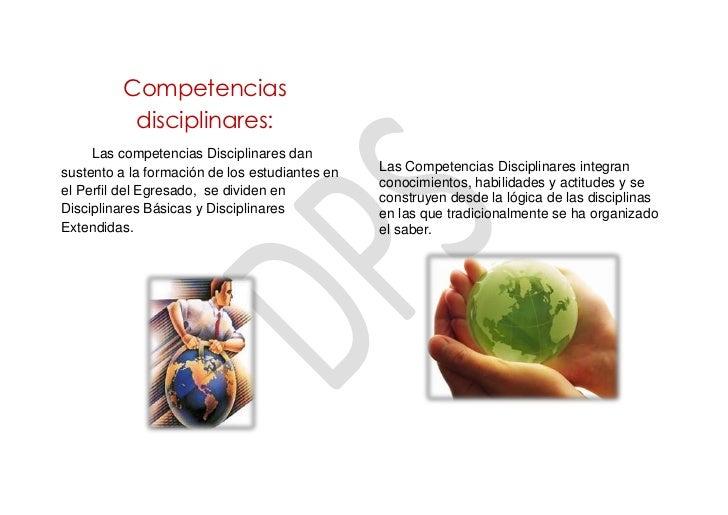 Competencias           disciplinares:     Las competencias Disciplinares dansustento a la formación de los estudiantes en ...