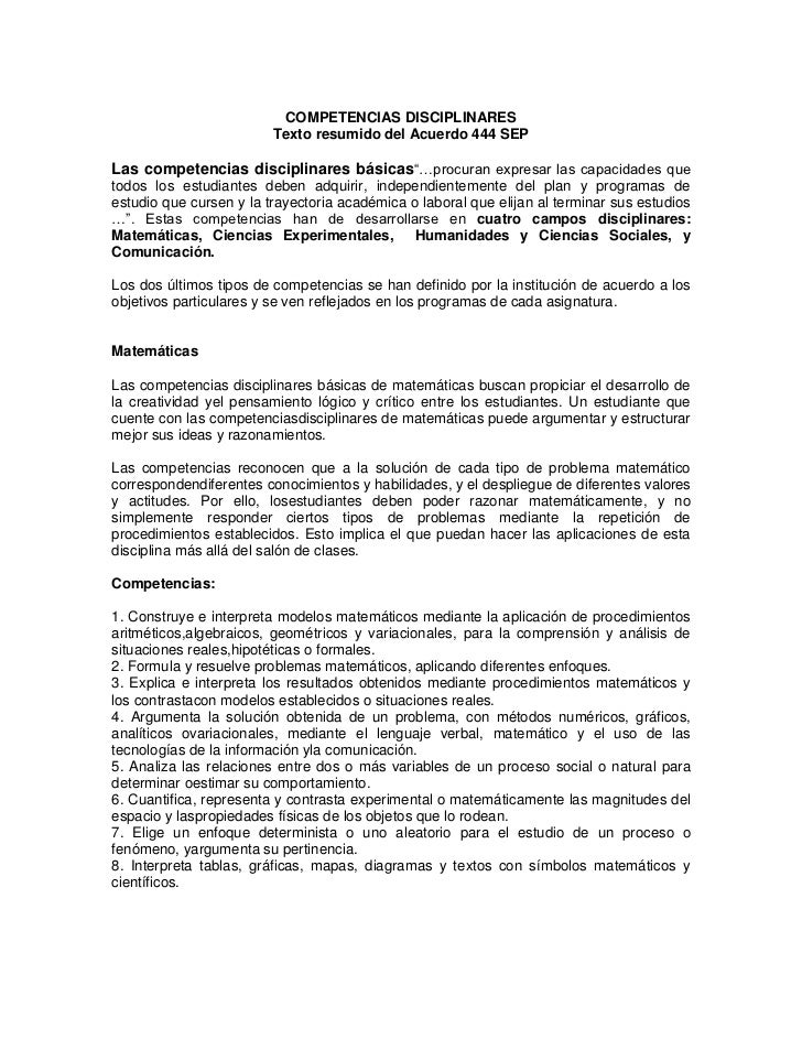 COMPETENCIAS DISCIPLINARES                         Texto resumido del Acuerdo 444 SEPLas competencias disciplinares básica...