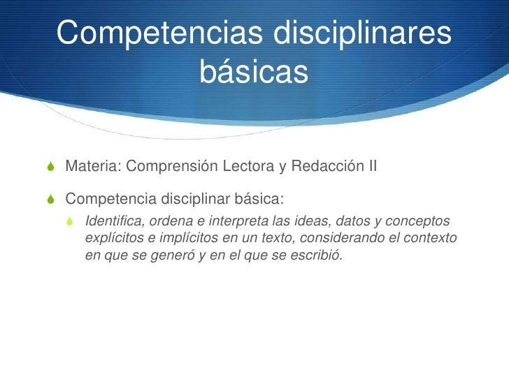Competencias Disciplinares       extendidasS Implicarán los niveles de complejidad deseables para  quienes opten por una d...