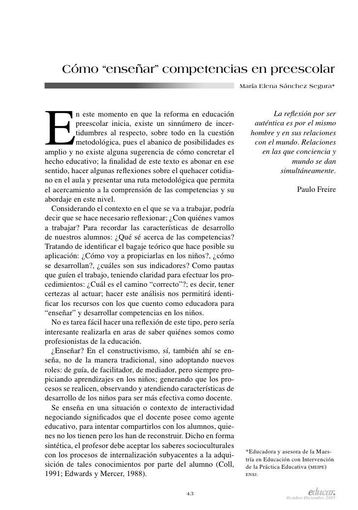 "Cómo ""enseñar"" competencias en preescolar                                                                  María Elena Sán..."