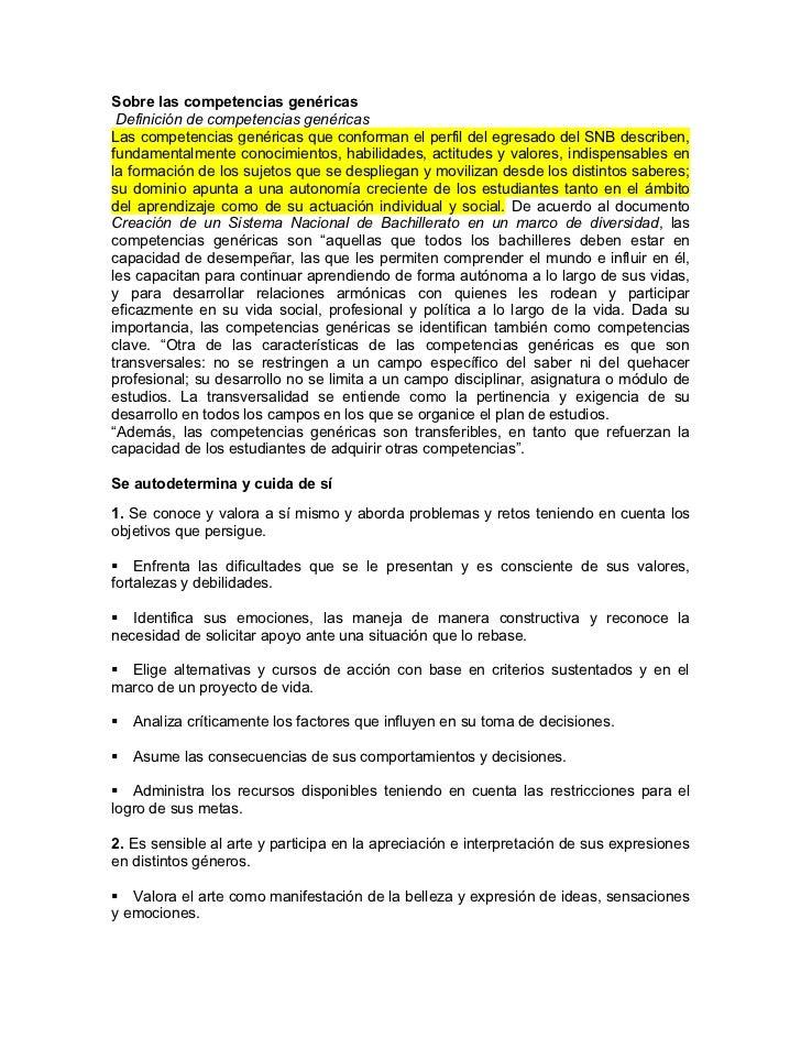 Sobre las competencias genéricas Definición de competencias genéricasLas competencias genéricas que conforman el perfil de...