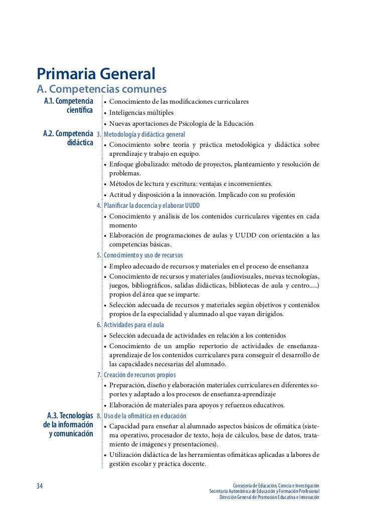 Primaria GeneralA. Competencias comunes     A.1. Competencia       • Conocimiento de las modificaciones curriculares     ...