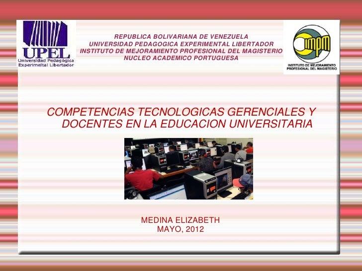 REPUBLICA BOLIVARIANA DE VENEZUELA       UNIVERSIDAD PEDAGOGICA EXPERIMENTAL LIBERTADOR    INSTITUTO DE MEJORAMIENTO PROFE...