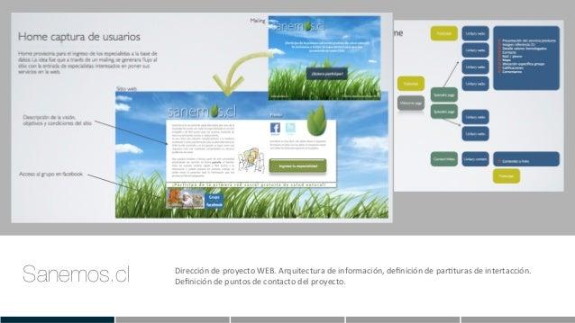 Sanemos.cl Dirección  de  proyecto  WEB.  Arquitectura  de  información,  definición  de  parEturas  de...