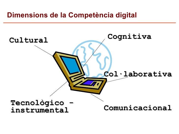 Dimensions de la Competència digital                             Cognitiva Cultural                              Col·labor...