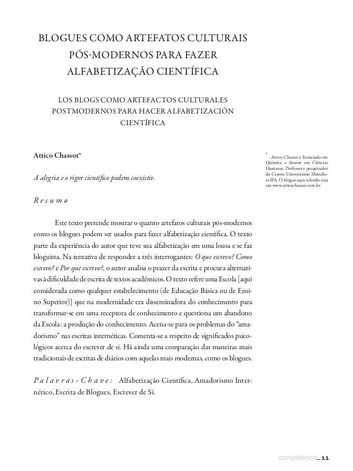 BLOGUES COMO ARTEFATOS CULTURAIS              PÓS-MODERNOS PARA FAZER             ALFABETIZAÇÃO CIENTÍFICA          LOS BL...