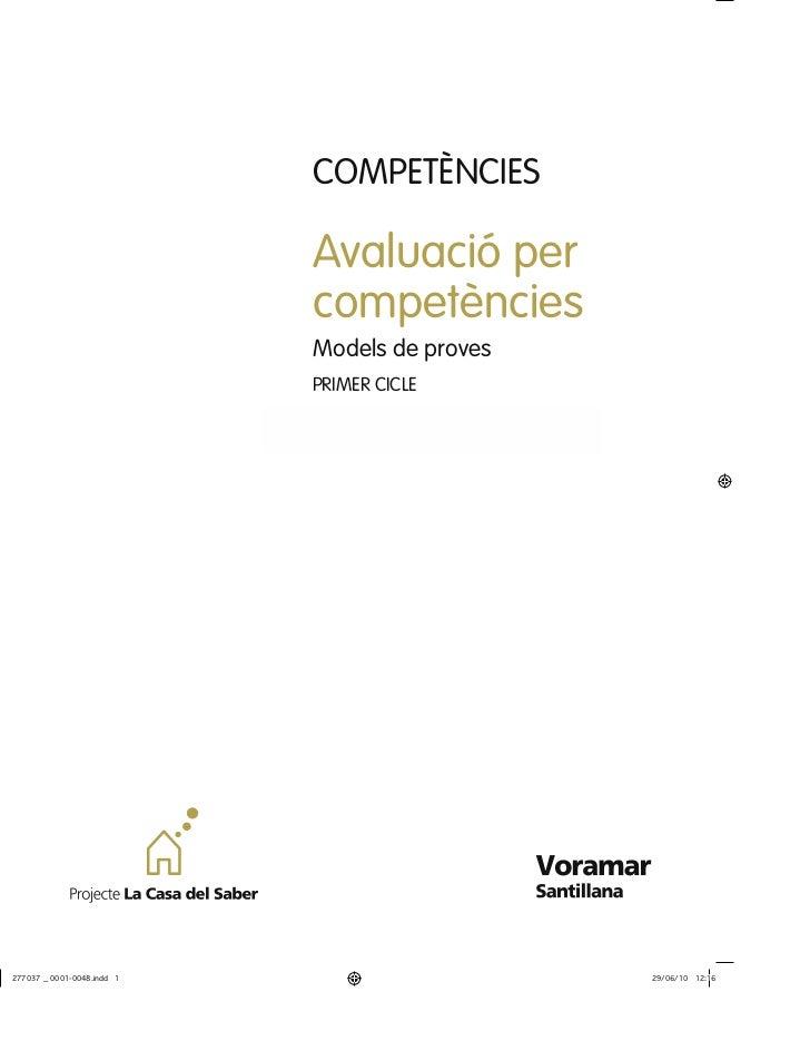 COMPETÈNCIESAvaluació percompetènciesModels de provesPRIMER CICLE