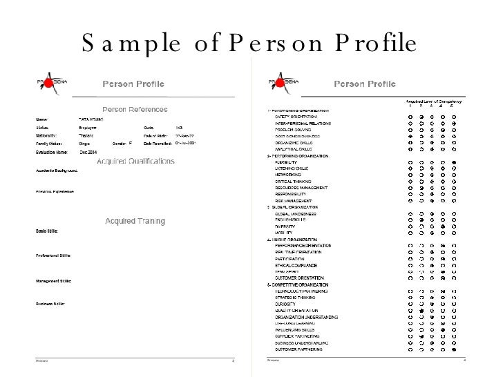 how to write a profile of a person sample