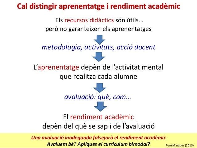 Una avaluació inadequada falsejarà el rendiment acadèmic Avaluem bé? Apliques el currículum bimodal? Els recursos didàctic...