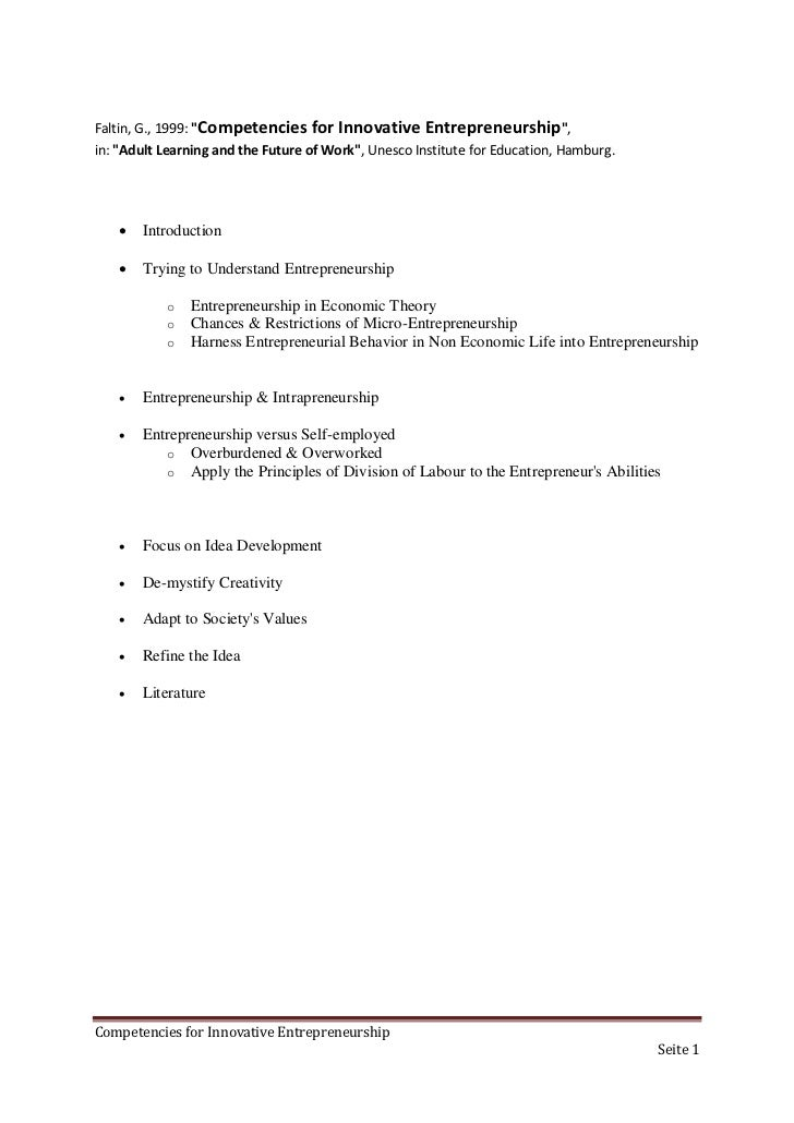 """Faltin, G., 1999: """"Competencies for Innovative       Entrepreneurship"""",in: """"Adult Learning and the Future of Work"""", Unesco..."""