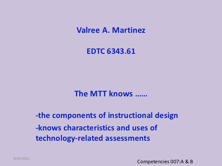 Valree A. Martinez                         EDTC 6343.61                      The MTT knows ……            -the components o...