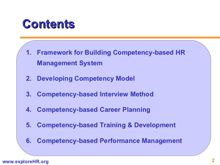 Contents <ul><li>Framework for Building Competency-based HR Management System </li></ul><ul><li>Developing Competency Mode...
