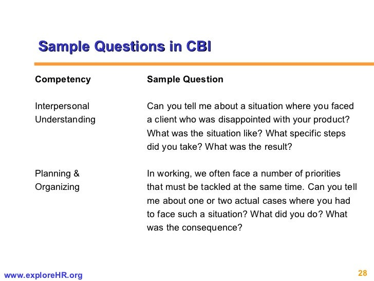 Competency Sample Question Interpersonal  Can you tell me about a situation where you faced Understanding a client who was...