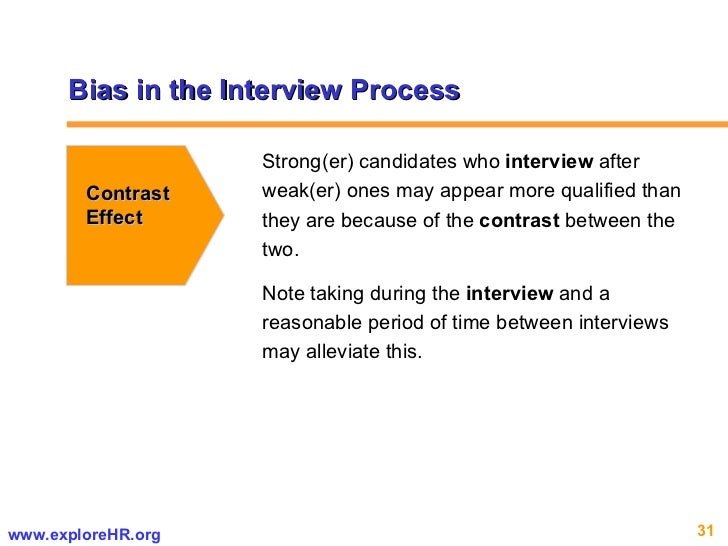 Bias in the Interview Process Contrast Effect Strong(er) candidates who  interview  after weak(er) ones may appear more qu...