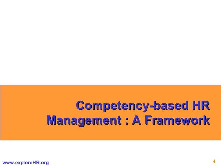 Competency-based HR Management : A Framework