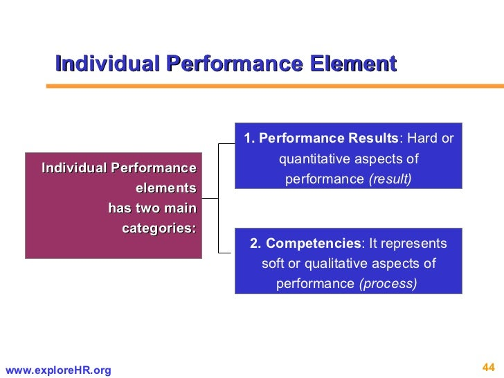 Individual Performance elements has two main categories: 1. Performance Results : Hard or quantitative aspects of performa...