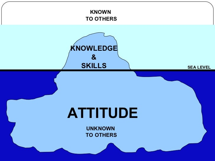 THE ICEBERG SEA LEVEL KNOWLEDGE & SKILLS ATTITUDE UNKNOWN  TO OTHERS KNOWN  TO OTHERS