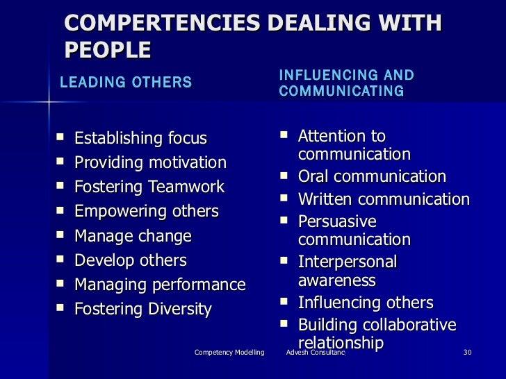 COMPERTENCIES DEALING WITH PEOPLE <ul><li>LEADING OTHERS </li></ul><ul><li>INFLUENCING AND COMMUNICATING </li></ul><ul><li...