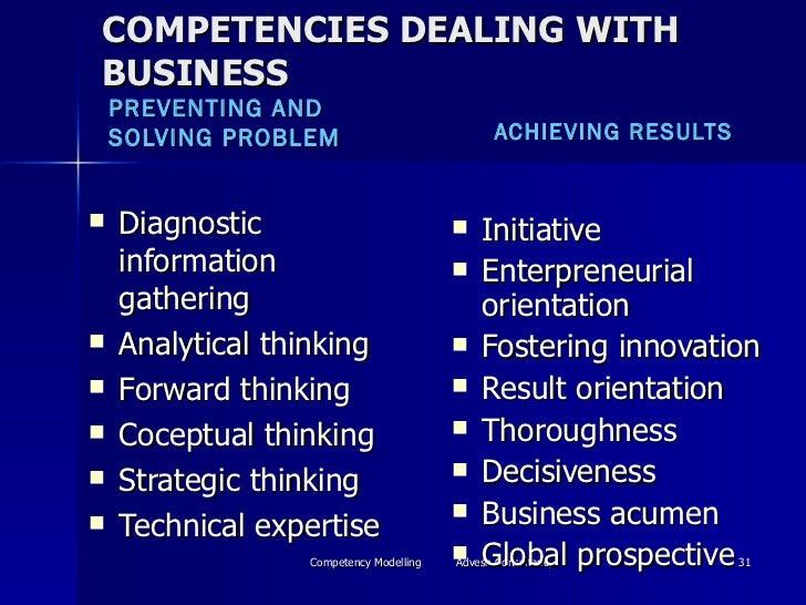 COMPETENCIES DEALING WITH BUSINESS <ul><li>PREVENTING AND SOLVING PROBLEM </li></ul><ul><li>ACHIEVING RESULTS </li></ul><u...