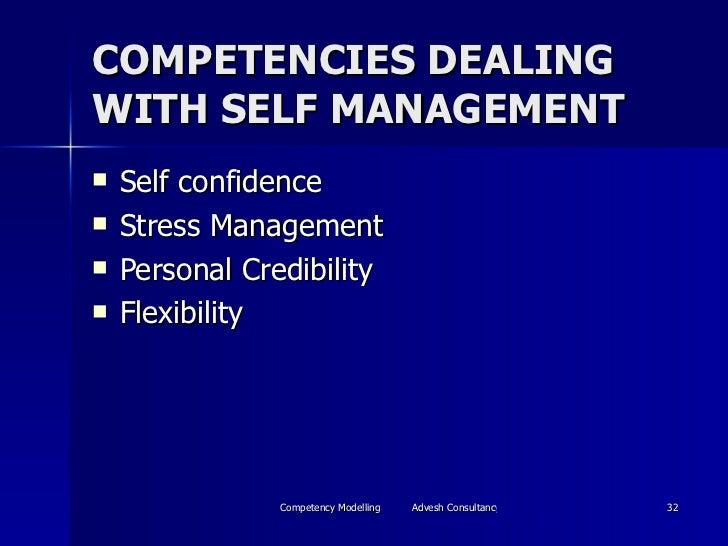 COMPETENCIES DEALING WITH SELF MANAGEMENT <ul><li>Self confidence </li></ul><ul><li>Stress Management </li></ul><ul><li>Pe...