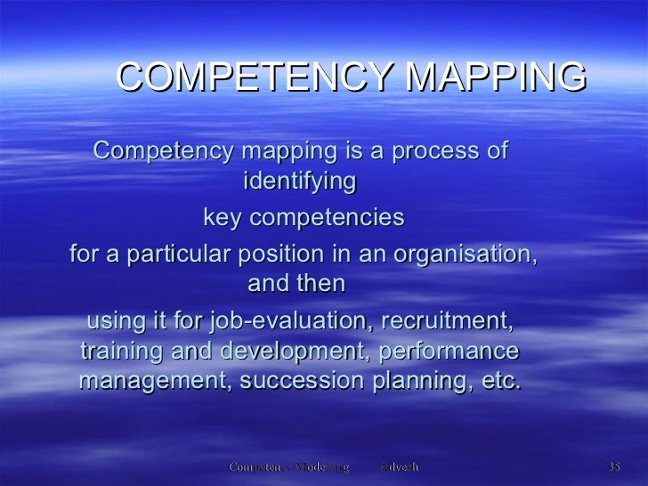 Competency mapping is a process of identifying key competencies for a particular position in an organisation, and then  us...