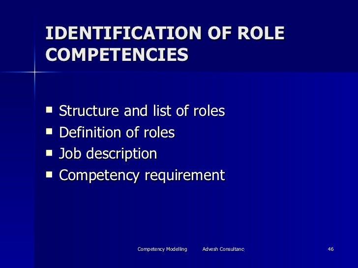 IDENTIFICATION OF ROLE COMPETENCIES <ul><li>Structure and list of roles </li></ul><ul><li>Definition of roles </li></ul><u...