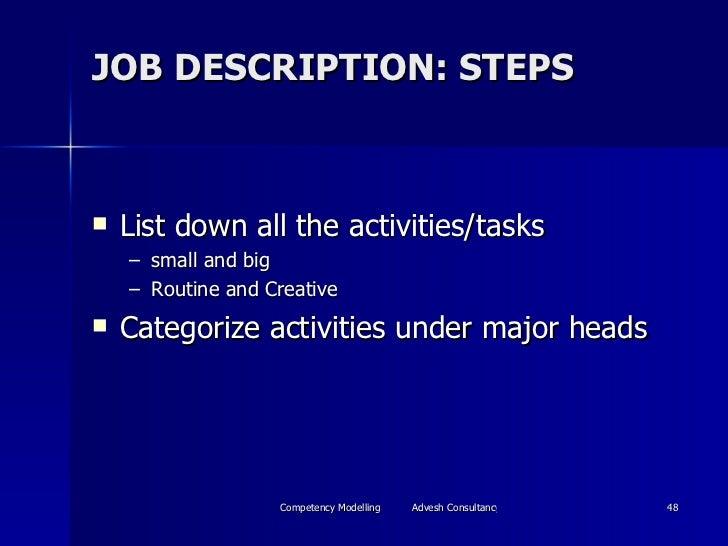 JOB DESCRIPTION: STEPS <ul><li>List down all the activities/tasks  </li></ul><ul><ul><li>small and big </li></ul></ul><ul>...