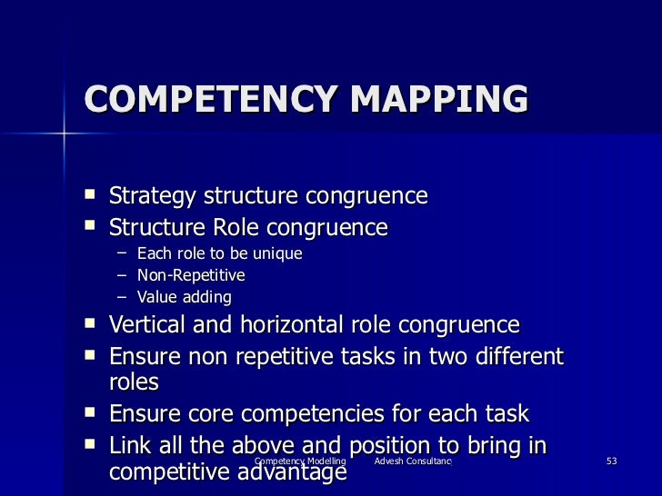 COMPETENCY MAPPING <ul><li>Strategy structure congruence </li></ul><ul><li>Structure Role congruence </li></ul><ul><ul><li...