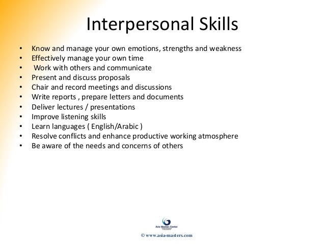 continuous quality improvements 48 interpersonal skills - Manager Skills List Of Skills Qualities Strengths And Competencies