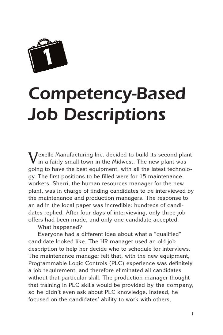 1Competency-BasedJob DescriptionsV   exelle Manufacturing Inc. decided to build its second plant    in a fairly small town...