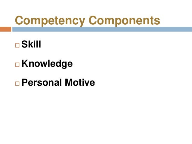 Competency Components   Skill   Knowledge   Personal Motive