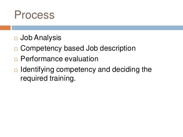 Process   Job Analysis   Competency based Job description   Performance evaluation   Identifying competency and decidi...