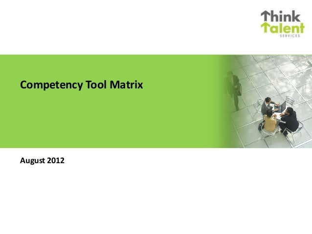 Competency Tool Matrix August 2012