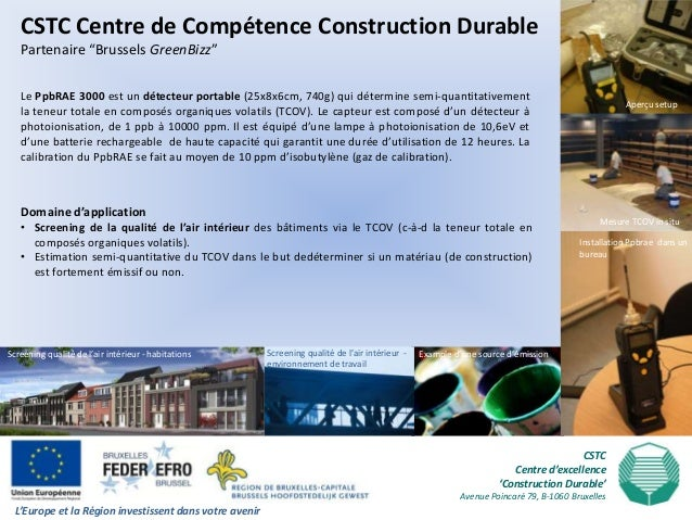 """CSTC Centre de Compétence Construction Durable   Partenaire """"Brussels GreenBizz""""   Le PpbRAE 3000 est un détecteur portabl..."""