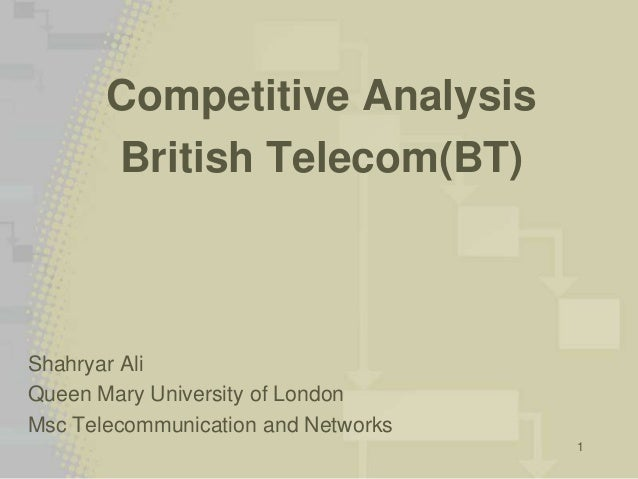 1 Competitive Analysis British Telecom(BT) Shahryar Ali Queen Mary University of London Msc Telecommunication and Networks