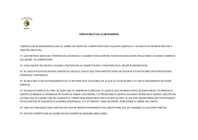 TORNEO MELÉ SUB 12 (BENJAMINES)  COMPETICION DE BENJAMINES (SUB-12) HABRÁ UN GRUPO DE COMPETICIÓN CON 5 EQUIPOS (GRUPO A) ...
