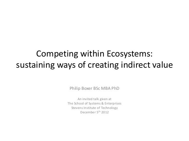 Competing within Ecosystems:sustaining ways of creating indirect value              Philip Boxer BSc MBA PhD              ...