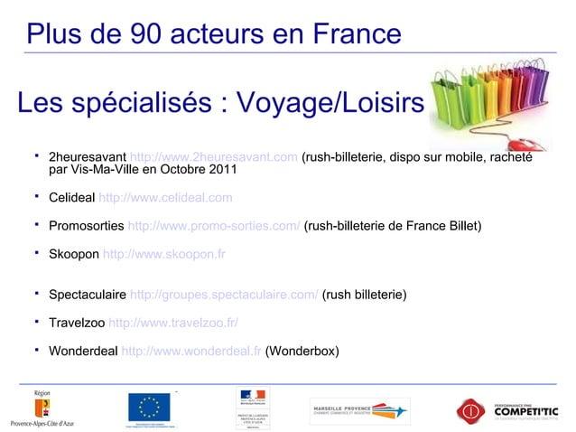 Plus de 90 acteurs en France  2heuresavant http://www.2heuresavant.com (rush-billeterie, dispo sur mobile, racheté par Vi...