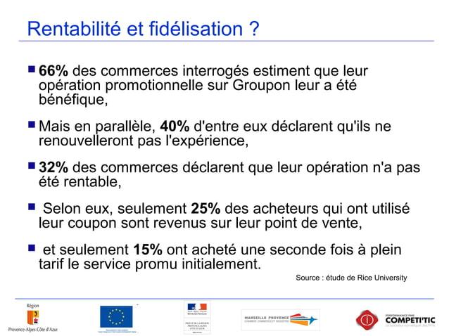 Rentabilité et fidélisation ?  66% des commerces interrogés estiment que leur opération promotionnelle sur Groupon leur a...