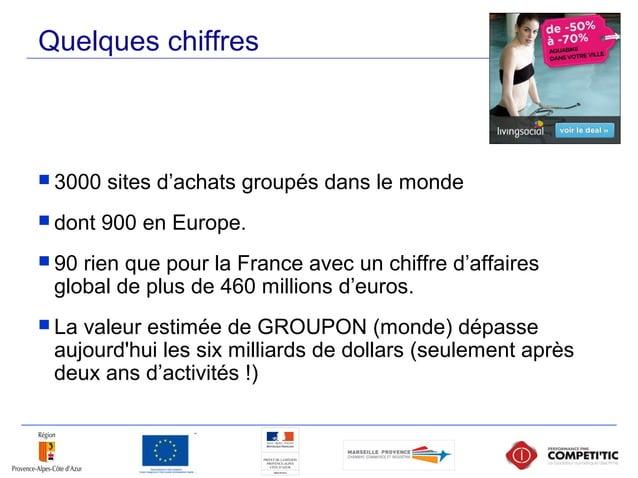 Quelques chiffres  3000 sites d'achats groupés dans le monde  dont 900 en Europe.  90 rien que pour la France avec un c...