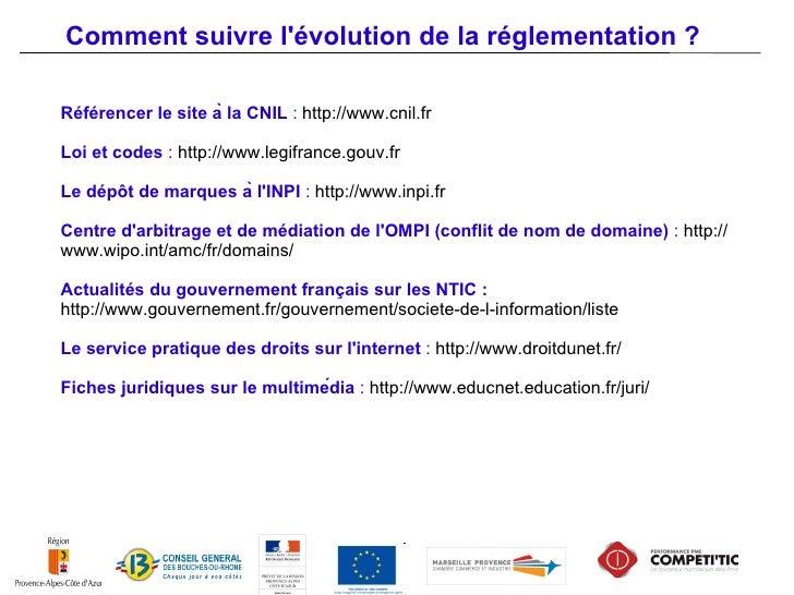 Comment suivre lévolution de la réglementation ?Sites Web sur lactualit́é juridique des technologies de linformation et de...