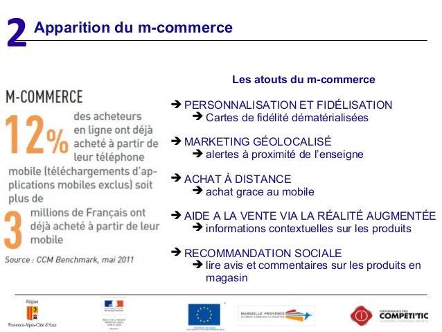 Apparition du m-commerce 2 Les atouts du m-commerce  PERSONNALISATION ET FIDÉLISATION  Cartes de fidélité dématérialisée...