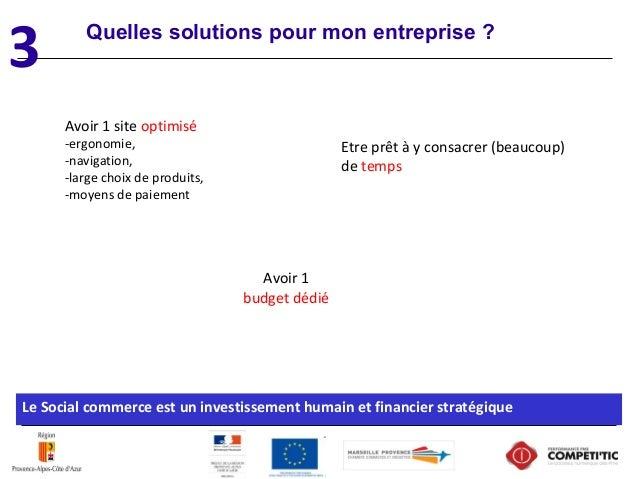 Quelles solutions pour mon entreprise ? Le Social commerce est un investissement humain et financier stratégique Avoir 1 s...