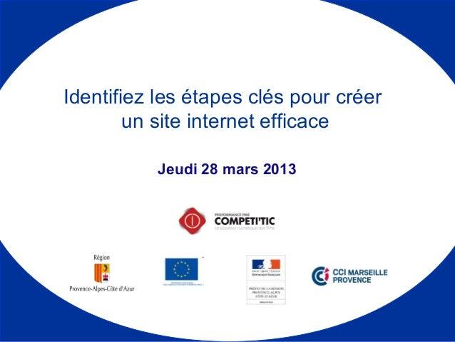 Jeudi 28 mars 2013 Identifiez les étapes clés pour créer un site internet efficace