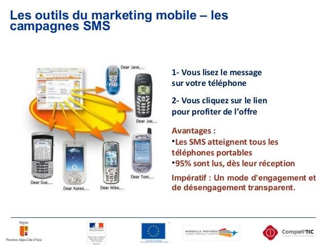 Les outils du marketing mobile – les campagnes SMS 1- Vous lisez le message sur votre téléphone 2- Vous cliquez sur le lie...