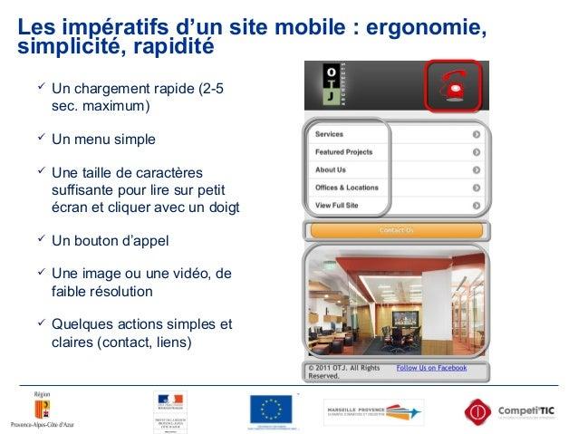 Les impératifs d'un site mobile : ergonomie, simplicité, rapidité  Un chargement rapide (2-5 sec. maximum)  Un menu simp...