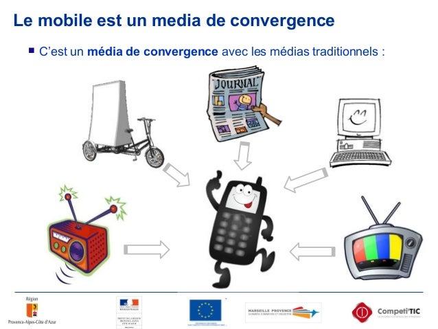 Le mobile est un media de convergence  C'est un média de convergence avec les médias traditionnels :